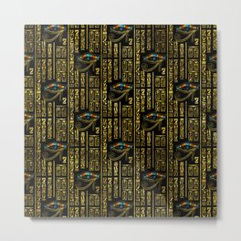 Eye of Horus and Egyptian hieroglyphs pattern Metal Print