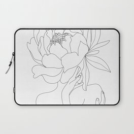 Minimal Line Art Woman Flower Head Laptop Sleeve