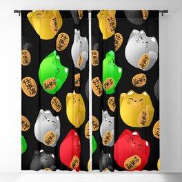 Fun Colorful Maneki-neko cats pattern on black Blackout Curtain