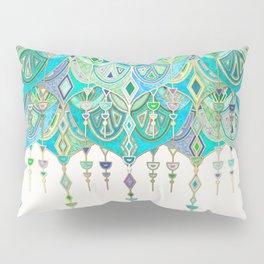 Art Deco Double Drop in Jade and Aquamarine on Cream Pillow Sham