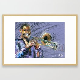 Jazz Trombonist Framed Art Print