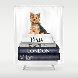yorkshire terrier, Books, Yorkie, Fashion books, Fashion illustration, Fashion, Amanda Greenwood Shower Curtain
