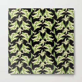 Black Vintage-Style Lily-of-the-Valley Pattern Metal Print