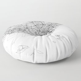 Singapore White Map Floor Pillow
