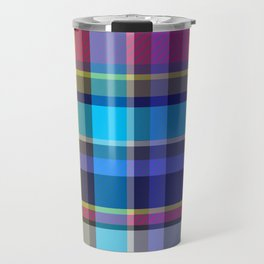 Navy, blue & Pink Tartan Plaid Travel Mug