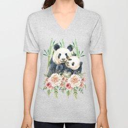 Cute Panda Bears Cuddling Watercolor Unisex V-Neck