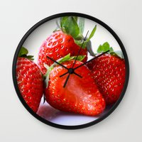 strawberry Wall Clocks featuring Strawberry by Nicole Mason-Rawle