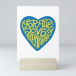 For The Love Of Running - Blue & Gold Mini Art Print