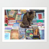 literary Art Prints featuring A Literary Puss by thejennii