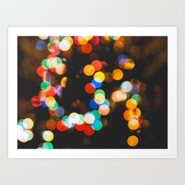 Christmas lights bokeh Art Print