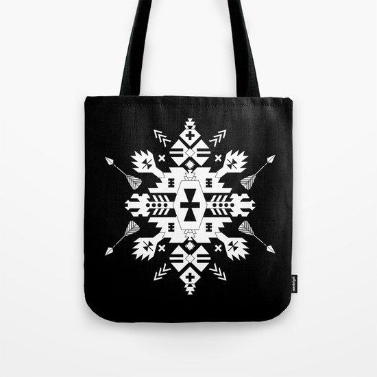Black and White Ethnic Aztec Ornament Tote Bag