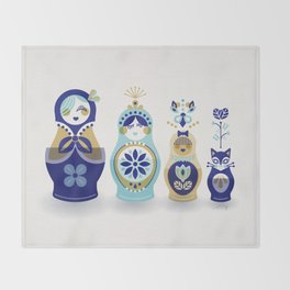 Russian Nesting Dolls – Blue & Gold Throw Blanket
