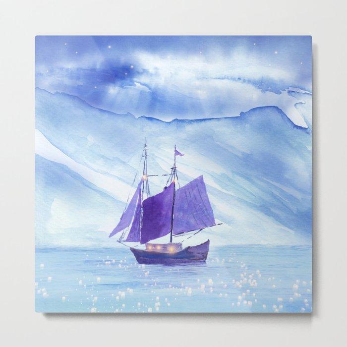 Sailing in Winter Metal Print