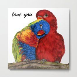Love You Love Birds Metal Print