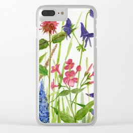 Garden Flowers Botanical Floral Watercolor on Paper Clear iPhone Case