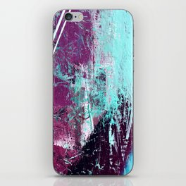 01012: a vibrant abstract piece in teal and ultraviolet iPhone Skin