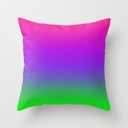 Proton Purple Plastic Pink Ultra Violet UFO Green Ombre Gradient Neon Colorful Pattern Shiny Texture Throw Pillow