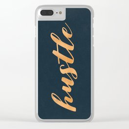 Hustle Text Copper Bronze Gold and Navy Clear iPhone Case