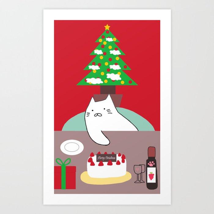 Cat Christmas Tree 15 Art Print By Prosperousvs
