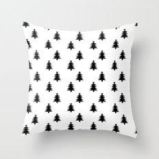 Black and White Christmas Trees Throw Pillow