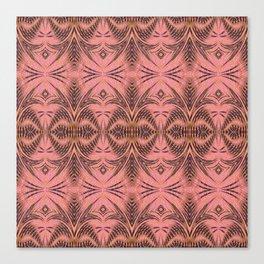 Earthy Coral Pink Vintage Tribal Boho Texture Print Canvas Print
