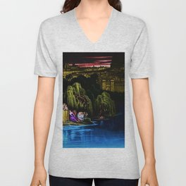 The Waters of Babylon Landscape Painting by Jeanpaul Ferro Unisex V-Neck