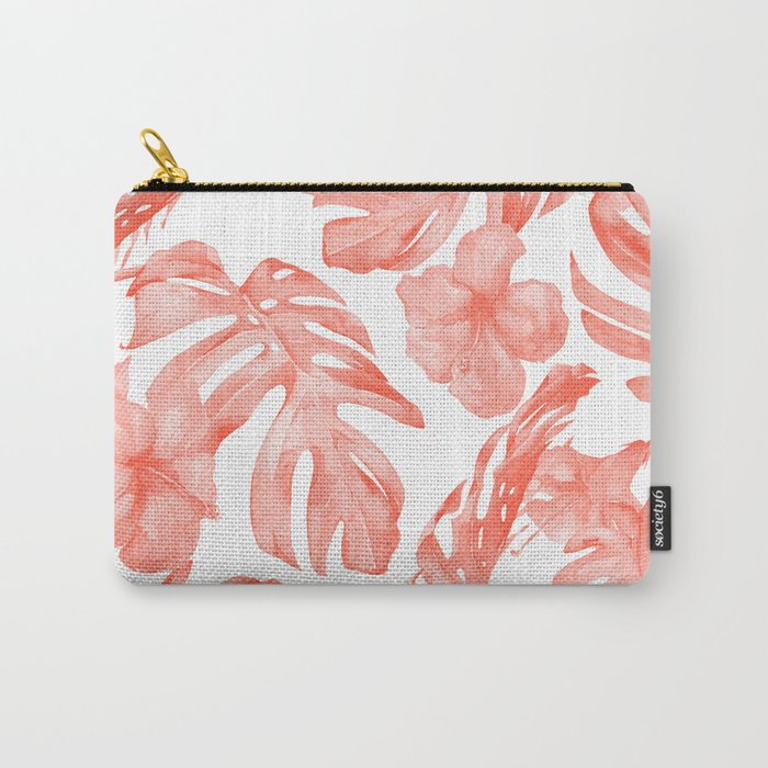 Tropical Hibiscus and Palm Leaves Dark Coral White Carry-All Pouch
