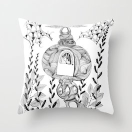 Solo Trip In Flying Machine To Unknown World Throw Pillow