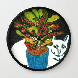 Cat with House Plant Wall Clock