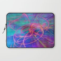 Electric Neon Swirls of Light Abstract Laptop Sleeve