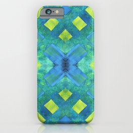 Green and blue geometric abstract motif, hand painted elements iPhone Case