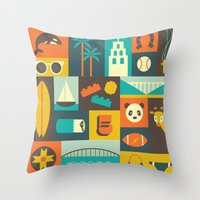 san diego Throw Pillows featuring San Diego  by Ariel Wilson