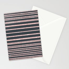 Elegant mauve gray pink glitter striped pattern Stationery Cards