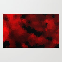 Black red polygonal background Rug
