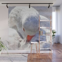 White Preening Duck - Feather and Down Close Up Wall Mural