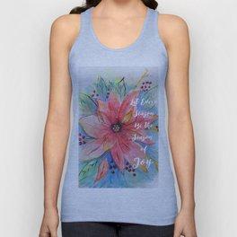 "Pretty watercolor poinsettia ""Let every season be the season of joy"" quote Unisex Tank Top"