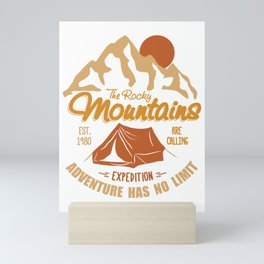 Vintage Retro Rocky Mountains Hiking Camping Gift Mini Art Print