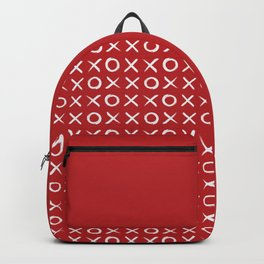 kisses and hugs // white on red Backpack
