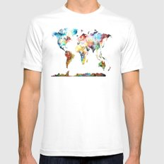 World map White Mens Fitted Tee MEDIUM