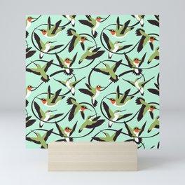 Hummingbirds with Ribbons Mini Art Print