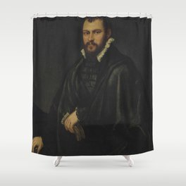 "Tintoretto (Jacopo Robusti) ""Portrait of a gentleman, three-quarter-length"" Shower Curtain"