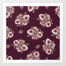 Burgundy Flower Pattern with Pink Flowers Art Print