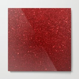 Deep Red Valentine Glitter Metal Print