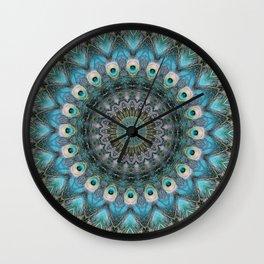 Mandala Of Peacock Eyes Wall Clock