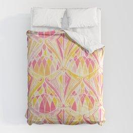 Art Deco Pattern in Pink and Orange Comforters