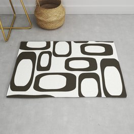Mid Century Modern Shapes Black And White #society6 #buyart Rug