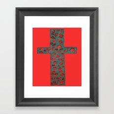 Coral & Teal Leopard Print Cross Framed Art Print