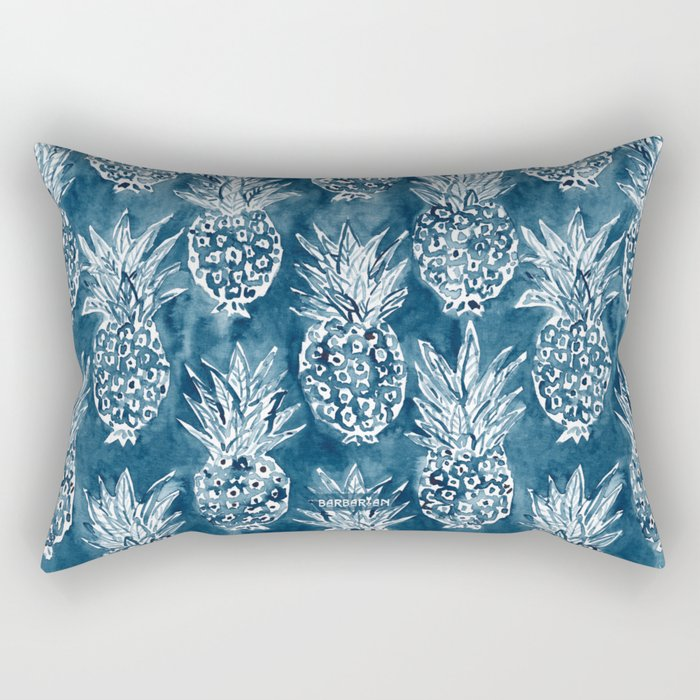 PINEAPPLE STANCE Indigo Boho Watercolor Rectangular Pillow