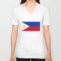 philippines V-neck T-shirts featuring Republic of the Philippines national flag (50% of commission WILL go to help them recover) by Bruce Stanfield