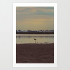 LONELY FLAMINGO Art Print